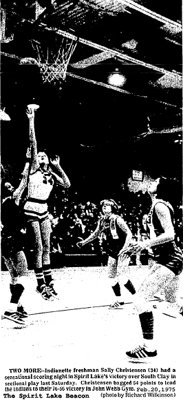 From the Spirit Lake Beacon, Feb. 20, 1975. Photo of freshman basketbal player Sally Christensen, number 34 shooting against South Clay in February 15, 1982 sectional playoff game at John Webb Gym. Spirit LAke won 76-56 and Christensen scored 54 points.