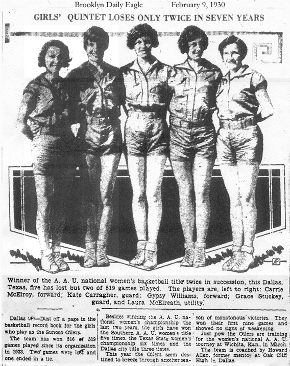Girls' Quintet Loses Only Twice in Seven Years. Winner of the A.A.U. national women's basketball title twice in succession, this Dallas, Texas, five has lost but two of 519 games played. The players are, left to right: Carrie McElroy, forward; Kate Carragher, guard; Gypsy Williams, forward; Grace Stuckey, guard, and Laura McElreath, utility.