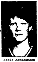 Katie Abrahamson, Cedar Rapids Washington High basketball player. Picture from the Cedar Rapids Gazette (Iowa), September 21, 1983