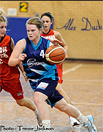 Photo by Trevor Jackson (cropped) of Alex Duck, Albury Cougar women's basketball player, driving with the ball against the Seymour Blaster in February, 2011