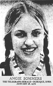Image of Angie Sommers, Andrew High School (Iowa) basketball player. From The Telegraph-Herald, Dubuque, Iowa, January 18, 1976.