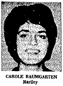 Picture of Carole Baumgarten, Hartley High forward, Iowa 6-on-6 basketball player. From Waterloo Daily Courier, March 17. 1966.