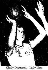 Picture of Cindy Dreessen, West Lyon High School Lady Lion basketball player (Iowa), from the Lyon County Reporter, Rock Rapids, Iowa, November 22, 1976.