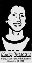 Image of Mary Goedkin, girls basketball player for Senior High (Dubuque, Iowa). From The Telegraph-Herald, Dubuque, Iowa, November 22, 1982
