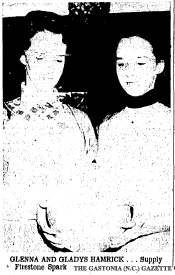 Glenna and Gladys Hamrick...Supply Firestone Spark Against Shelby. From The Gastonia Gazette (North Carolina), February 22, 1956.