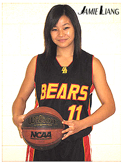Picture of Jamie Liang, Bethune Bears basketball player (Toronto), holding a basketball.