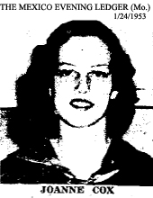 Picture of Joanne Cox, from The Mexico Evening Ledger (Missouri), January 24, 1953