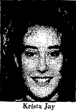 Picture of Everett basketball player, Krista Jay, from the Altoona Mirror, Alroona, Pennsylvania, 2/15/1994.