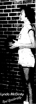 Picture of Lynda McGinty, Belmont High School Red Raiderette basketball player, from The gastonia (N.C.) Gazette, February 3, 1956.
