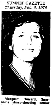 From the Sumner Gazette, Sumner, Iowa, Thursay, Feb. 5, 1976. Reads: Margaret Howard, Sumner's sharp-shooting senior. Picture after she scored 55 points in a game.