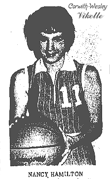 Picture of NAncy Hamilton, Corwith-Wesley High School Vikette basketball player. From the Kossuth County Advance (Iowa), December 13, 1971.