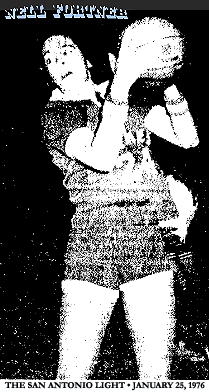 Nell Fortner, New Braunfels basketball player, action shot, with basketball. Image from The San Antonio Light (Texas), January 25, 1976.