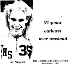 Picture of Lori Norgaard, CArroll High basketball player, number 35, Iowa basketball, who scored 97 points in 2 games. Titled '97- point outburst over weekend' from The Carroll Daily Times-Herald, December 4, 1979