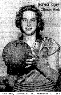 Picture of Norma Toney, Climax High, with basketball. From The Bee, Danville, Virginia, Fenruary 7, 1962.