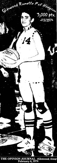 Picture of PAt Hodgson, Glenwood High (Iowa) Ramette basketball player, in picture from when she was presented with the ball in which she scored her 3,000th point of her career/ From The Opinion Journal, Glenwood, Iowa, February 6, 1974. The game was not on 2/5/1974.
