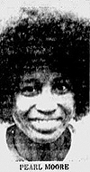 Picture of Pearl Moore, Francis Marion College basketball player, 1975-79, from The News and Courier, Charleston, South Carolina, March 10, 1977.
