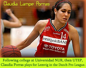 Image of Claudia Lampe Porras as a pro basketball player, 2009, for Lemvig in the Dutch Women's Professional League. She scored 53 points in a game at LaSalle High School in Santa Cruz, Bolivia. She attended college at Universidad NUR, in Bolivia, transferring as a junior to the University of Texas at El Paso, graduating UTEP in 2008, and signing with Lemvig. She is also a international swimsuit model.