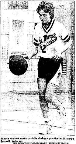 Sandra Moycjell works on drills during a practice at St. Mary's School in Waterloo. From the Syracuse Post-Standard, February 28, 1990.