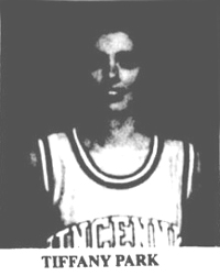 Image of Tiffany Park, Vincennes University basketball player. From The Madison Courier, MAdison, Indiana, April 24, 1996.