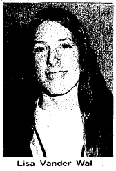 Picture of Lisa Vander Wal, Pella Christian Eaglette basketball player, who scored 56 points in a basketball game on 2/23/1976. From The Pella Chronicle, February 25, 1976, Pella, Iowa.