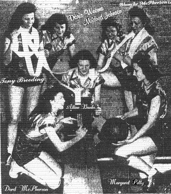 Publicity photo of the Vultee Aircraft Bomberettes, during 1945 season, which would conclude with their 2nd straight A.A.U. championship. They also finished with 49 consecutive vicories. Picture from The Nassau Review-Star, January 27, 1945, titles Tallyman's Headache. It reads: NASHVILLE, TENN.--It takes almost the entire Nashville Vultee Aircraft Bomberette team (national A.A>U. champion) and an adding machine to figure the scoring record of its All-America captain, Alline Banks PAte (seated behind machine), nation's leading scorer last season. Punching the keyboard is Dord McPherson. Margaret Petty, with basketball, double checks. Standing, left to right, are Tony Breeding, Doris Weems, Mildred Johnson and Blanche McPherson.