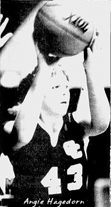 Picture of Angie Hagedorn, with basketball above head, number 43, Clay Central Comanche basketball player. From The Daily Reporter, Spencer, Iowa, February 12, 1986.