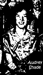 Picture of Audrey Shade, Fairchild Cargoette basketball player, from Fairchild Engineering, Hagerstown, Maryland. Cropped from team photo from The Morning Herald, Hagerstown, Maryland, March 30, 1956