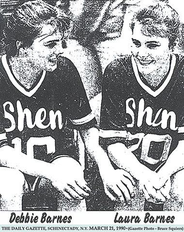 The Barnes Twins, Debbia and Laura, basketball players for Shenendehowa High Plainsmen. From The Daily Gazette, Schenectady, New York, March 21, 1990. Gazette Photo - Bruce Squiers.