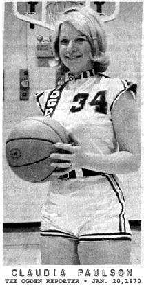 Picture from The Ogden Reporter, Ogden, Iowa, January 28, 1970, of Claudia Pailson, Ogden Bulldogette basketball player who scored 64 points in a game, 1/23/1970.