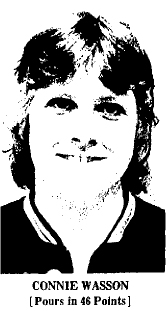 Picture of Connie Wasson, Eldora High Tigerette basketball player, from The Hardin County Index, December 6, 1974.