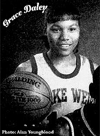 Cropped photo by Alan Youngblood, from Ocala Star-Banner, Ocala, Florida, March 20, 1996, of Grace Daley, Lake Weir Hurricane basketball player.