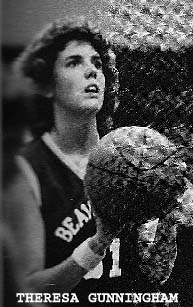 Image of Theresa Gunningham, Beaverton High (Michigan) basketball player, in act of shooting.