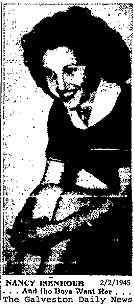 Picture of Nancy Isenhour, High Point College (North Carolina), who was the first woman to play (and start) for a men's college basketball team (N.A.I.B.) in the 1944-45 season. This picture is from The Galveston Daily News, February 2, 1945. The caption reads: 'And the Boys Want Her'