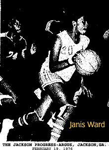 Picture of Janis Ward, Jackson High Red Devilette (Georgia), bringing the ball up the court in the basketball game where she scored 51 points against the Manchester Blue Devilettes. From The Jackson Progress-Argus, Jackson, Georgia, February 19, 1976.