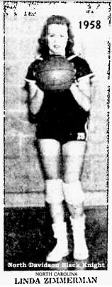 Picture of Linda Zimmerman, basketball player (guard) for the North Davidson Black Knights. From The Dispatch, Lexington, North Carolina, February 12, 1958