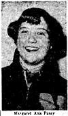 Picture of Margaret Ann Pusey, Wicomico Red Shield Amazon basketball player, from The Salisbury Times, January 2, 1952.
