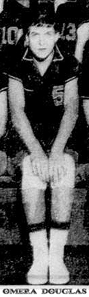 Picture of Omera Douglas, girl basketball player for Dunnellon High, Florida. From The Ocala Star-Banner, Ocala, Florida, February 16, 1958, titled Dunnellon Girl Cagers. Cropped from team photo.