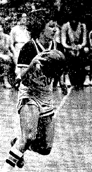 Picture of Patricia Bradford, first woman to start on an N.C.A.A. men's college basketball team. Picture of Pat bringing ball upcourt for the Knights during a game. Photo by Stephen Hawkins, from The Berkshire Eagle, Pittsfield, Massachusetts, January 24, 1976.