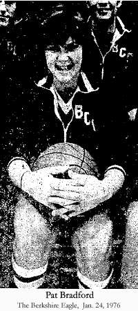 Photo of Patricia 'Pat' Bradford, from a team photo of the 6 'man' 1975-76 Berkshire Christian College Knights. Pat Bradford was the first woman to start on a N.C.A.A. men's basketball team, substituting for injured players. She also played on the women's team during the season. Stephen Hawkins photo from The Berkshire Eagle, Pittsfield, Massachusetts, Januaary 24, 1976