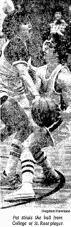 Picture of senior Pat Bradford, Berkshire Christian College basketball player, 1975-76, who played on both the men's and women's teams this season, and was the first woman to start on an N.C.A.A. men's basketball team. The action photo's caption reads: 'Pat steals the ball from College of St. Rose player.' Credit: Stephen Hawkins, The Berkshire Eagle, January 24, 1976.