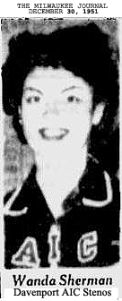 Picture of Wanda Sherman, guard for the Davenport AIC Stenos, from The Milwaukee Journal, Milwaukee, Wisconsin, December 30, 1951.