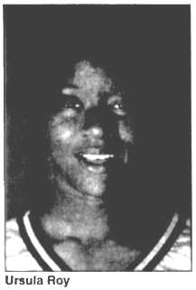 Picture of Ursula Roy, Colonial Beach High Drifter basketball player, from The Free Lance-Star, Fredericksburg, Virginia, October 4, 1996.