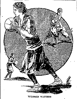 Illustration of Mildred Watters, Bridgeport (Connecticut) basketball player, from The Helena Daily Independent, Helena, Montana, March 30, 1924. This was a wire report or syndicated, as found in at least one other newspapers, including the April 2, 1924 Frederick News-Posr, Frederick, Maryland. All the reports misspell her name as Mildred Waters, but in checking the Bridgeport newspaper of the time, the correct spelling is Watters. There was another girl on the team named Agnes Waters. This even led to confusion in the local paper. In the February 2, 1924 home game against South Manchester, Bridgeport won, 106-2, with Mildred Watters scoring 59 points on 29 field goals and one foul shot, and Agnes Waters scored 35 points. I have corrected the spelling of her name in the illustration. The Helena picture is titled: Girl Athlete Makes Remarkable Record. The text nelow reads: Scoring 59 points in a basketball game constitutes a rather busy evening. Miss Mildred Waters [sic], star of the Bridgeport (Conn.) high school yeam turned in such a performance recently in the defeat of the South Manchester high school five [sic]./The score of the game was 106 to 2, Miss Waters [sic] making more than half of the points for her team. She scored 29 field goals and one foul basket.