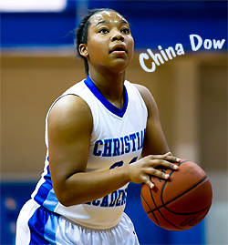 China Dow, Louisville Christian Academy basketball player shooting a foul shot.