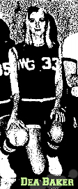 Dea Baker, number 33, Woodward-Granger Woodhawkette, kneeling (from team photo, The Ames Daily Tribune, December 30, 1969. Photo by Vince Coyle.