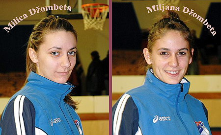 Images of sisters Milica and Miljana Dzombeta, basketball players for Borac ML-IEFK Banja Luka, in the Bosnia and Herzegovina D1 women's League.