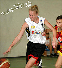 Ewelina Ziolkowska dribbling the ball upcourt for the MKS Opalenica Cadets, Poland.