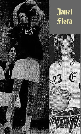 Two images of Janet Flora, girls basketball player for Loch Raven High (Maryland). Taking a jump shot in black uniform jersey #23, with white skirt, from The Evening Sun, Baltimore, Md., Feb. 12, 1976, Sunpapers photo by William H. Mortimer, and posing next to basket with basketball in a white uniform #23, Sunpapers photo by Walter F. McCardell.