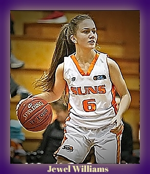 Image of Jewell Williams, Kalamunda Eastern Suns Orange U-18 basketball player, dribbling ball going to our right, in white SUNS uniform with orange lettering, #6.