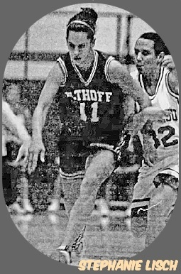 Photo of girls basketball player, Stephanie Lisch, Althoff High School (Maryland), in dark uniform, number 11, going for ball in play. From the St. Louis Post-Dispatch, December 22, 2001.